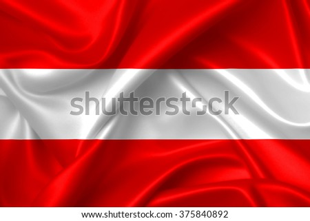 Flag of Austria 3D, silk texture - stock photo