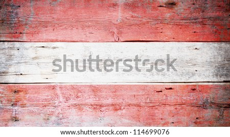 Flag of Austria painted on grungy wood plank background - stock photo