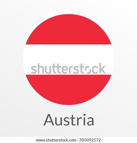 flag austria round icon badge button stock illustration 705092572