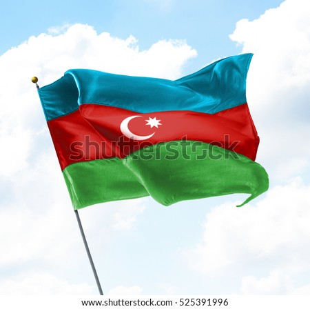 Flag of Azerbaijan Raised Up in The Sky