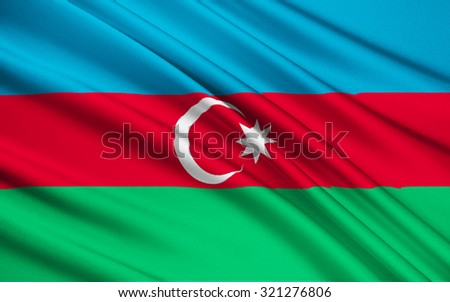 Flag of Azerbaijan - This flag was used from November 1918 to 1920, when Azerbaijan was independent, and it was re-adopted on 5th February 1991.  - stock photo