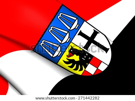 Flag of Bad Kissingen, Germany. Close Up. - stock photo