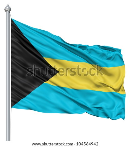 Flag of Bahamas with flagpole waving in the wind against white background