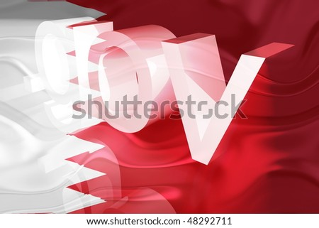 Flag of Bahrain, national country symbol illustration wavy gov government website
