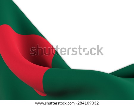 Flag of Bangladesh ,close up  with  sinuous motion wave on white background - stock photo
