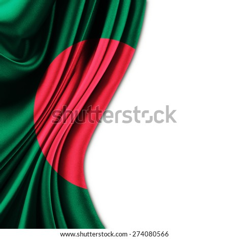 Flag of Bangladesh on silk curtain theater up white background - stock photo