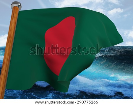 Flag of Bangladesh waving winning with background of bubbly sea and blue sky - stock photo
