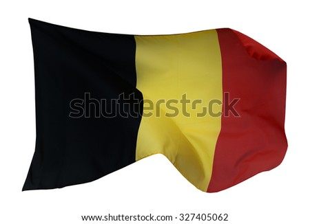 Flag of Belgium, isolated on white background - stock photo