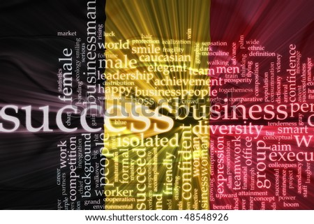 Flag of Belgium, national symbol illustration clipart wavy business success concept