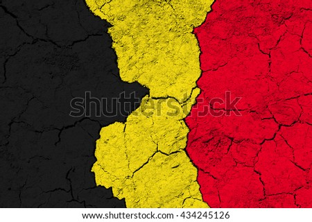 Flag of Belgium on rugged wall full of scratches - metaphor of problem and crisis leading to collapse of country - economical bankruptcy, migration crisis, terrorism - stock photo