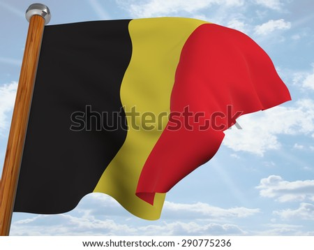 Flag of Belgium waving winning in the blue sky