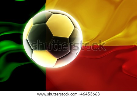Flag of Benin, national country symbol illustration wavy fabric sports soccer football