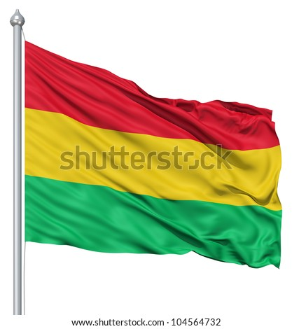Flag of Bolivia with flagpole waving in the wind against white background - stock photo
