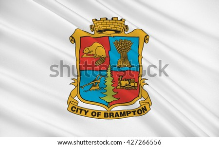 Flag of Brampton is a city in Southern Ontario, Canada - stock photo