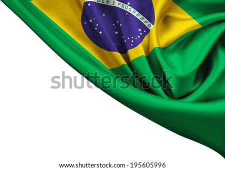 flag of Brazil crop isolated on white - stock photo