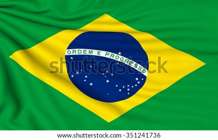 Flag of Brazil, 3d illustration with fabric texture