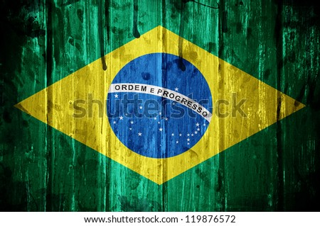 Flag of Brazil, image is overlaid with grunge texture