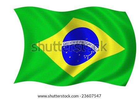 Flag of Brazil isolated on a white background