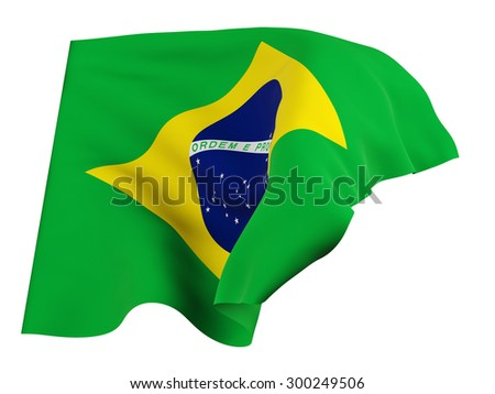 Flag of Brazil,isolated, waving in the wind