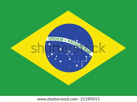 Flag of Brazil, national country symbol illustration