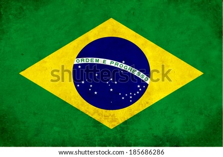 flag of Brazil on a stone wall - stock photo