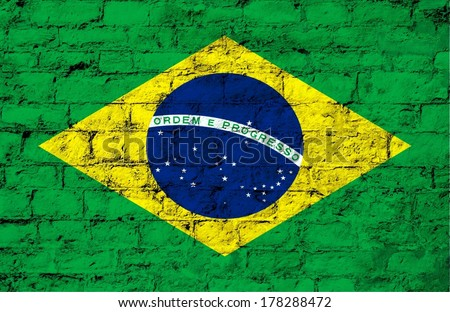 flag of Brazil painted on a stone brick wall  - stock photo