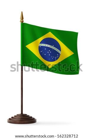 flag of Brazil - table flag - stock photo