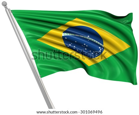 Flag of Brazil , This is a computer generated and 3d rendered picture.