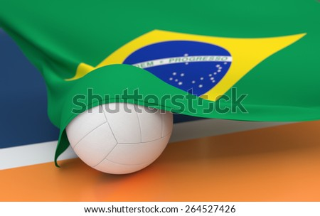 Flag of Brazil with championship volleyball ball on volleyball court - stock photo