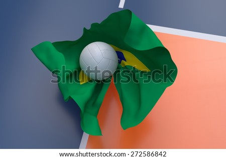 Flag of Brazil with championship volleyball ball on volleyball court