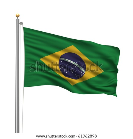 Flag of Brazil with flag pole waving in the wind over white background - stock photo