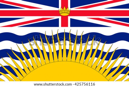 Flag of British Columbia is a province on the west coast of Canada - stock photo