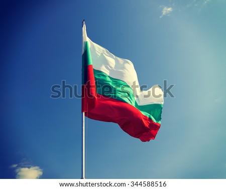 Flag of Bulgaria against the sky - stock photo