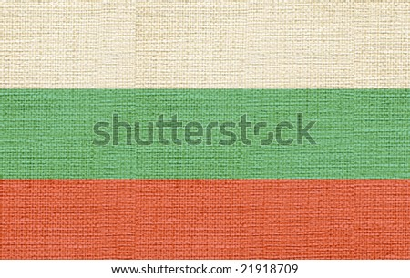 flag of bulgaria canvas - stock photo