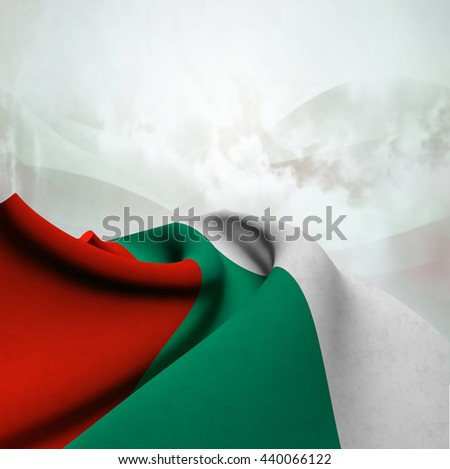 Flag of Bulgaria silky,  fantastic close up shot ,masterfully folded  and resting on an abstract background-3d rendering