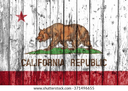 Flag Of California Painted On Wooden Frame