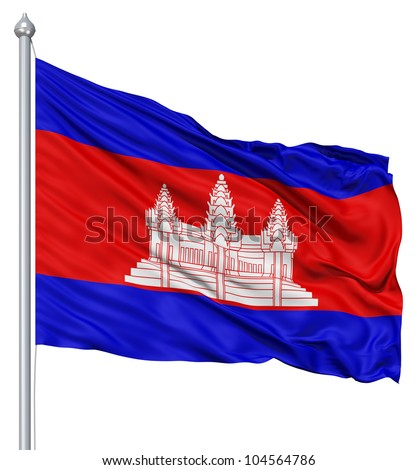 Flag of Cambodia with flagpole waving in the wind against white background - stock photo