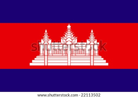 Flag of Cambodianational country symbol illustration - stock photo