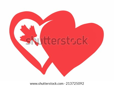Flag of Canada doodle style - stock photo