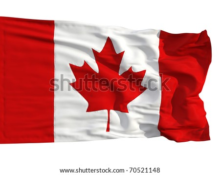 Flag of Canada, fluttered in the wind. Sewn from pieces of cloth, a very realistic detailed flags waving in the wind, with the texture of the material, isolated on a white background - stock photo