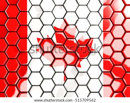 Flag of canada, hexagon mosaic background. 3D illustration