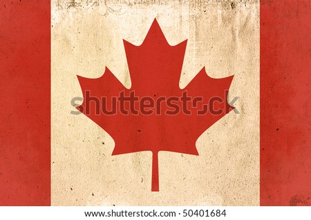 flag of Canada - old and worn paper style - stock photo