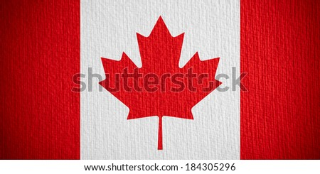 flag of Canada or Canadian banner on paper background