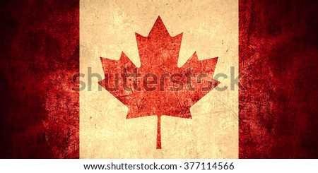 flag of Canada or Canadian banner on rough pattern texture vintage background