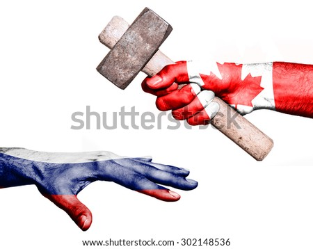 Flag of Canada overprinted on a hand holding a heavy hammer hitting a hand representing the Russia. Conceptual image for political, fiscal or social aggressions, penalties, taxation - stock photo