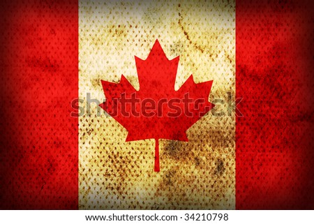 Flag of Canada. Weathered burned material