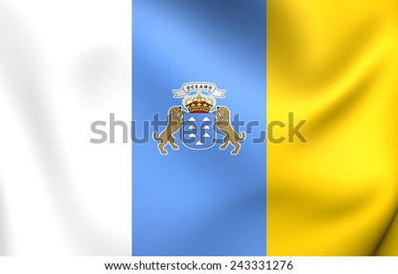 Flag of Canary Islands. Close Up. - stock photo