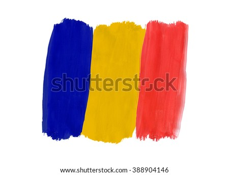 Flag of Chad painted with gouache