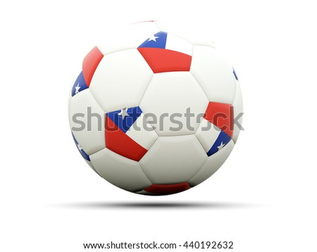 Flag of chile on football, isolated on white. 3D illustration - stock photo