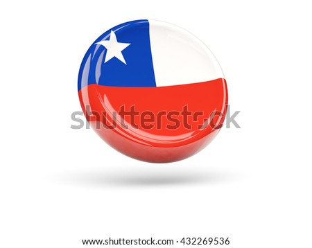 Flag of chile, round icon. 3D illustration - stock photo